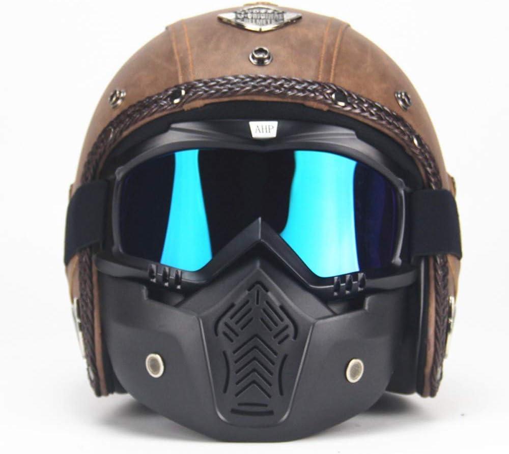 MRDEER Casco de motocicleta estilo retro, hecho a mano, piel sintética, unisex, cara completa, con visera y gafas para adultos, hombres, mujeres, marrón, M dljyy
