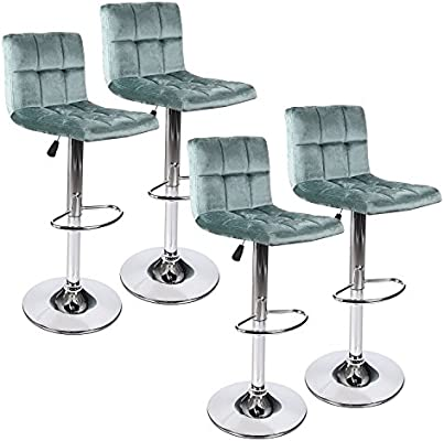 Outstanding Puluomis Modern Square Flannel Adjustable Bar Stools With Back Set Of 4 Counter Height Swivel Stool Green Beatyapartments Chair Design Images Beatyapartmentscom