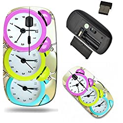 Liili Wireless Mouse Travel 2.4G Wireless Mice with USB Receiver, Click with 1000 DPI for notebook, pc, laptop, computer, mac book Colorful clocks on table light background Image ID 22089546