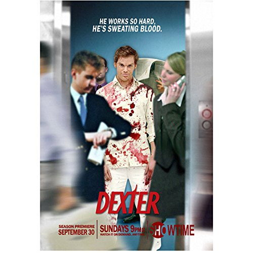 (Dexter Michael C. Hall in blood spattered outfit with business people promo 8 x 10 Inch Photo)
