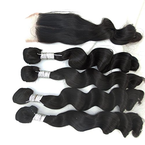 """Vedar Beauty Girls' 4Bundles+1Closure Loose Wave Virgin Cambodian Hair Unprocessed Extensions Weft 4Pcs12"""" 14"""" 16"""" 18""""and 1Piece Remy Hair Closure(4*4)12"""""""