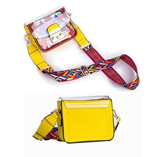 Strap Transparent Women's 85 Durable Length Handbag Yellow 135cm Purse Crossbody Wide Small Organizer Purse Shoulder Clear Bag PVC q6zwpIzd