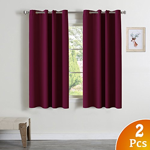 Burgundy Curtains for Living Room - (Burgundy Red) Home Decor Energy Smart Thermal Insulated Window Treatment Drape/Drapery for Living Room/Bedroom, 52x63 Inch,2 (Velvet Grommet)
