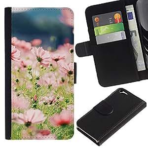 WINCASE (No Para IPHONE 6 PLUS) Cuadro Funda Voltear Cuero Ranura Tarjetas TPU Carcasas Protectora Cover Case Para Apple Iphone 6 - flores en el campo de verano floral sol verde