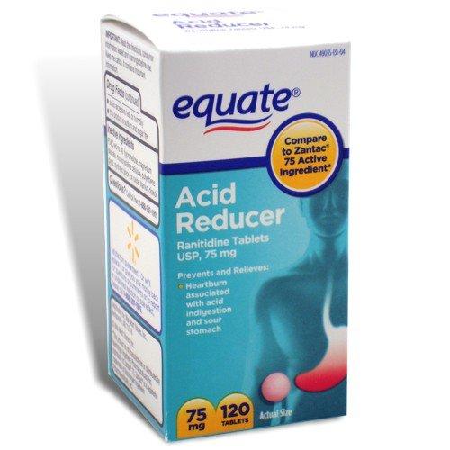UPC 681131776448, Equate - Acid Reducer, Non-Prescription Strength, Ranitidine 75 mg, 120 Tablets, Compare to Zantac