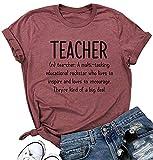 Oriental Pearl Teacher Shirts Women Funny Inspirational Summer Short Sleeve T Shirt with Sayings Trendy Teacher Gift Shirt Red