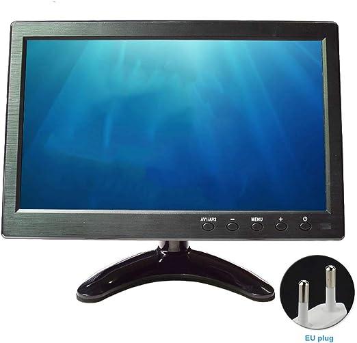 TXYFYP Monitor de 10,1 Pulgadas CCTV con Mando a Distancia HD 1024 x 600 Pantalla portátil LCD Monitor Pantalla con HDMI AV Puerto Vga Mando Altavoz Incorporado para PC TV Video Audio: