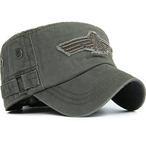 REDSHARKS American USA Eagle Embroidered Patch Ventilation Eyelet Military Army Flat Top Hat Cadet Cap Adjustable