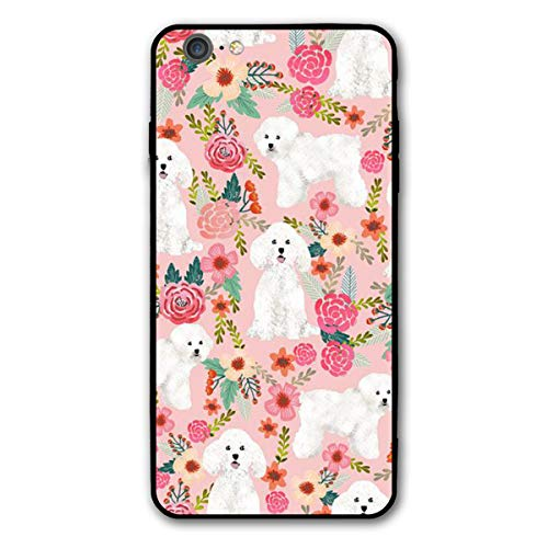 Yiyingzhang iPhone 6 Plus Case, iPhone 6s Plus Case, Bichon Frise Dog Pink Florals Vintage Applicable Full Body Protective Shockproof Sandproof Dirtproof Phone Cases for iPhone 6/6s Plus
