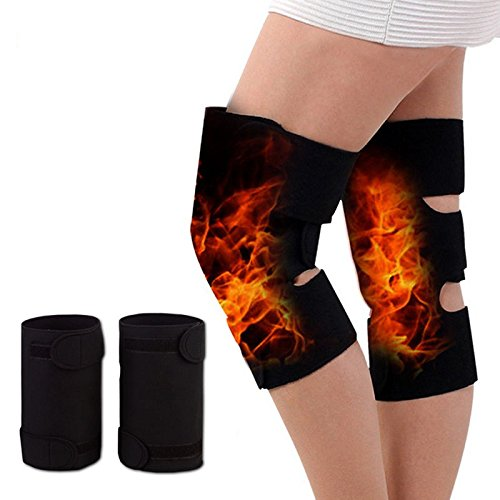 Tourmaline Magnetic Therapy Orthopedic Knee Support Belt by JERN (Adjustable Self Heating Knee Brace Pair)