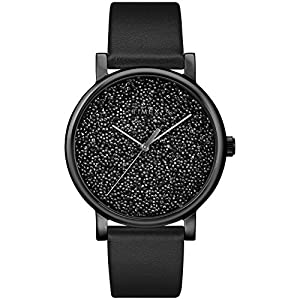 Timex Women's TW2R95100 Crystal Opulence Black Leather Strap Watch
