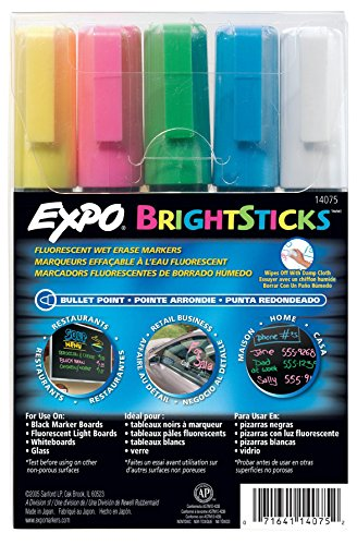 Wet Stick (Sanford Wet Bright Sticks Wet-Erase Fluorescent Markers, Assorted Fluorescent Colors, 5-Pack (14075))