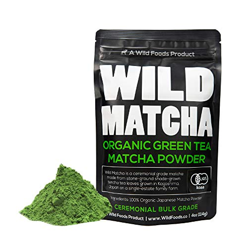 Organic Matcha Green Tea Powder, Wild Matcha #2 Ceremonial Grade, Authentic Japanese Matcha Grown In Japan, JAS Certified Organic (4 ounce - 114g)