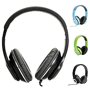 AUSDOM Lightweght wire Over-Ear HD stereo headset Soft leather ear cups with In-line Mic