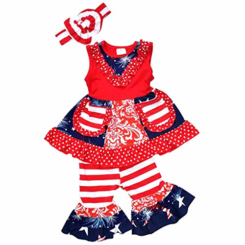 Unique Baby Girls 4th of July Tank Boutique Outfit with Headband (7/XXL, Red)