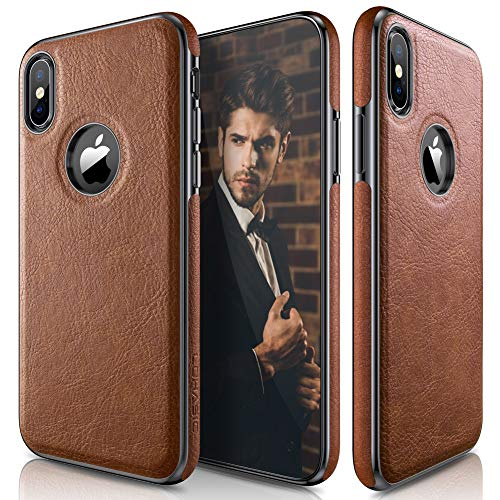 LOHASIC iPhone XS Case, iPhone X Case Slim Thin Premium Leather Luxury PU Soft Flexible Hybrid Bumper Anti-Slip Grip Scratch Resistant Protective Cover for Apple iPhone X XS New Version (2018) - Brown (Slim Pu Leather Design)