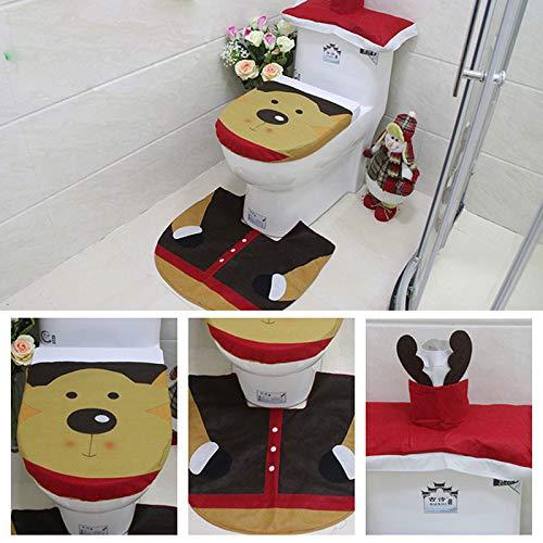 1/2/3pcs Bath Mat Toilet Seat Cover Christmas Rug