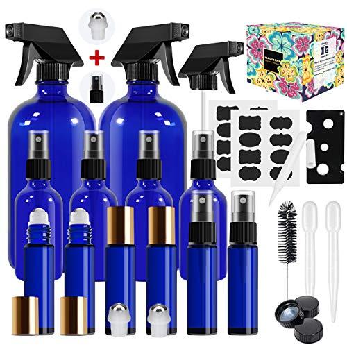 Glass Spray Bottle,MASSUGAR Cobalt Blue Glass Spray Bottles Set Refillable Container for Essential Oil Bottle Kits - 2 x 16oz, 4 x 2oz Spray Bottles & 6 x 10ml Roller Bottles for Essential Oils or C