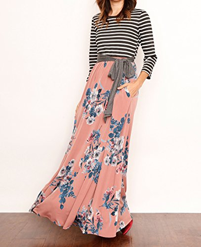 Long Striped Casual Pink Maxi Sleeve 3 Pockets Waist 4 Dress Print Patchwork Womens with Floral Bigyonger Tie 7aHPqxBXq