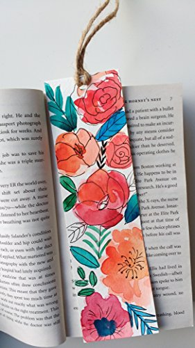 Hand painted bookmark, Paper bookmark, Floral art, Birthday gift, Painted bookmark, Floral Watercolor, Stocking stuffer, Nerdy gift, Book lover's gift