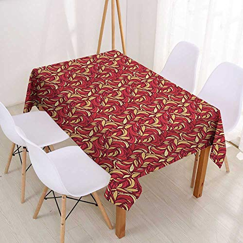 Wendell Joshua Indoor/Outdoor Square Tablecloth Leaves,Abstract Colored Foliage Pattern with Coming of The Spring Theme Image,Verimilion Ruby Beige,Party Decorations Table Cover Cloth 39