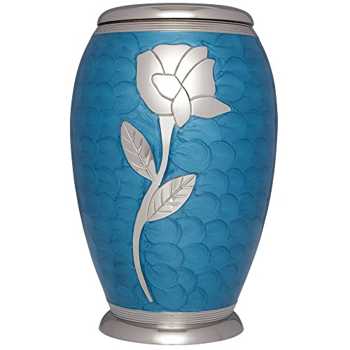 Funeral Urn by Liliane - Cremation Urn for Human or Pet Ashes - Hand Made in Brass & Hand Engraved - Display Urn at Home or in Niche at Columbarium - Talia Model (Blue Enamel with Silver Flower,Adult) ()