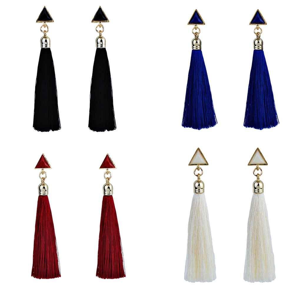 busirde Pendientes de Las Mujeres Triangular Largo de la Borla de Las Mujeres Pendientes del Rhinestone de la Franja de Bohemia cuelga de Largo Azul: ...