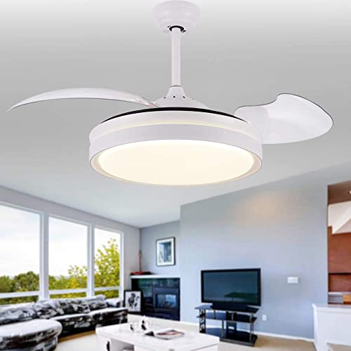 Bella Depot White Modern Ceiling Fans with Retractable Blades, LED Lights, Remote Control, 2 Down-rods – 42 inches LED Ceiling Fan, Not Dimmable 4000K Neutral White