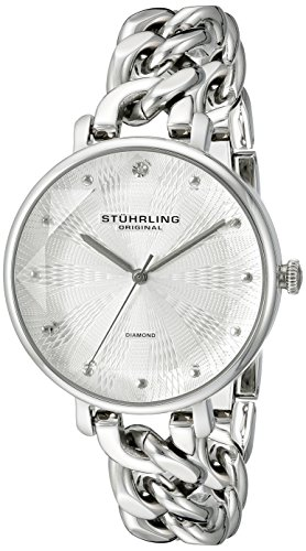 Stuhrling Original Women's 596.01 Vogue Genuine Diamond Chain Link Bracelet Watch