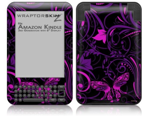 Twisted Garden Purple and Hot Pink - Decal Style Skin fits Amazon Kindle 3 Keyboard (with 6 inch display) by WraptorSkinz