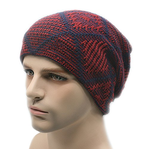 Oversized Hat largo Knit Slouchy Hombres Cap para Ski Beanie rojo Velvet BaronHong invierno vino el ICwqXnzxE