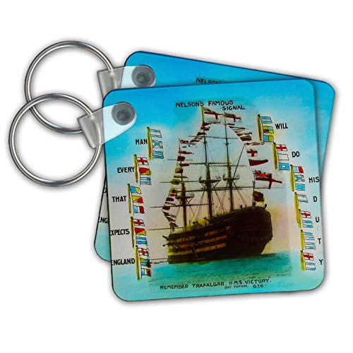 - Scenes from the Past - Magic Lantern - Remember Trafalgar HMS Victory Nelsons Famous Signal Do His Duty - Key Chains - set of 2 Key Chains (kc_301318_1)