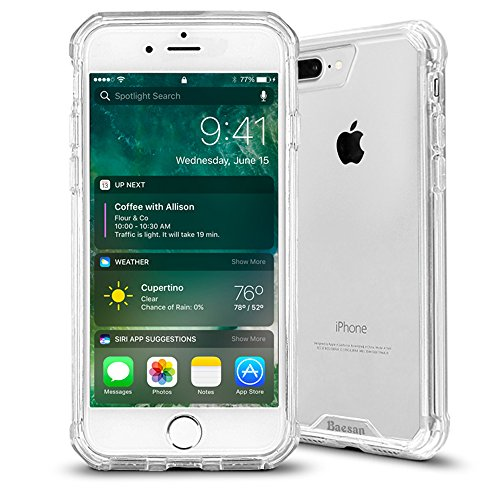 iPhone 8 Plus Case,iPhone 7 Plus Case,Shockproof TPU Bumper and Clear PC Hard Back Slim Non-slip Protective Case for Apple iPhone 7 Plus Case (2016)/iPhone 8 Plus (2017) -- Clear (Hard Protective Case Cover)