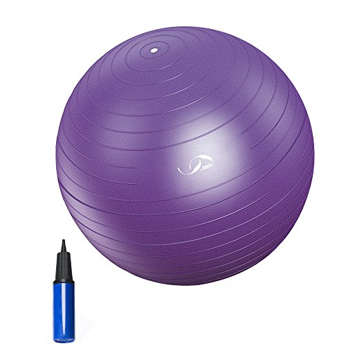 JBM Exercise Yoga Ball with Free Air Pump (4 Sizes 5 Colors) 400 lbs Anti-Burst Slip-Resistant Yoga Balance Stability Swiss Ball for Fitness Exercise Training Core Strength (Purple, 70cm-75cm)