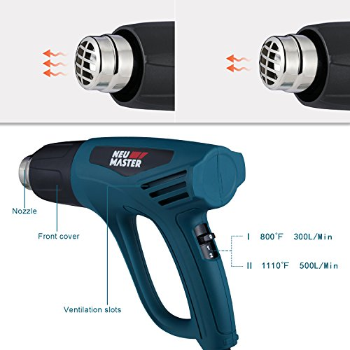 9218ee3e6da2c NEU MASTER N2190 1500W Heat Gun Kit with Dual Temperature Control with  Overload Protection Four Nozzle Attachments for Stripping Paint, Bending  Pipes, ...