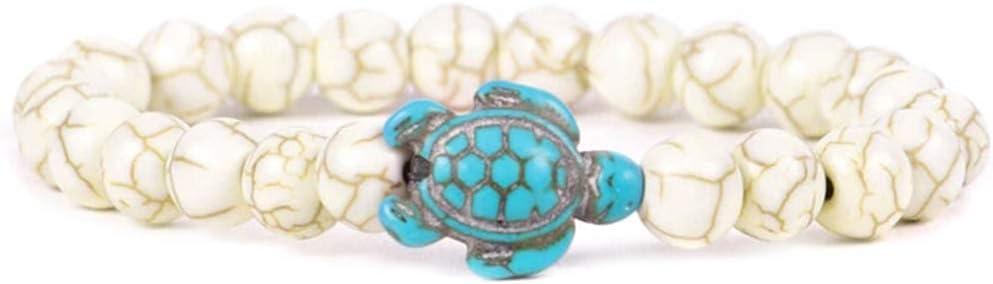 Guajave Pulsera de perlas de tortugas marinas Turquesa Simulación Natute Stone Elástico Pulsera para Mujeres Hombres (C,19cm)