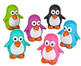 Mini Rubber Penguins (Pack of 12) bright colors - can squirt water for bath time fun!