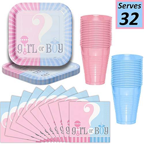 (Gender Reveal Plates, Cups, Napkins - Serves 32-9