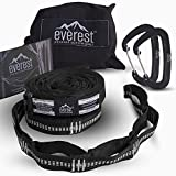Everest Hammock Tree Saver Straps & Aluminum Carabiners | Lightweight Triple Stitch Extra Strong No Stretch Polyester Adjustable 14 Loop Suspension System