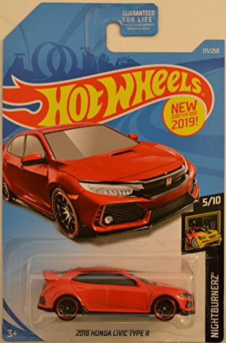 Hot Wheels Compatible 2018 Honda Civic Type R Red 171/250 HW Nightburnerz Series 1:64 Scale Collectible Die Cast Model Car