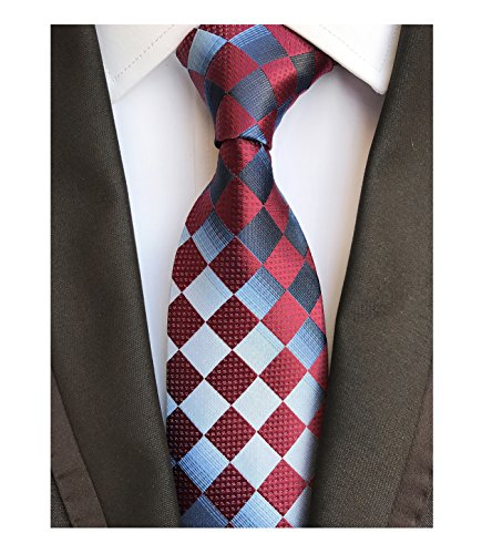 Diamond Patterned Silk Tie - Men's Silk Tie Formal Necktie Diamond Patterned Dating Tie in Reds Whites Blacks