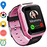 GPS Smart Watch for Kids - Boys Girls Smartwatch Phone with GPS/LBS Locator 2 Way Calls SOS Camera Voice Chat Math Game Step Counter Geo Fence for Kids Holiday Birthday Gifts Back to School