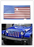 jeep wrangler blue grill inserts - Highitem Red+White+Blue 3D American Flag Front Mesh Grille Grill Grid Inserts Bug Screen for Jeep Wrangler JK JKU Unlimited 2007-2017