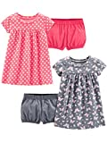 Simple Joys by Carter's Girls' 2-Pack Short-Sleeve and Sleeveless Dress Sets, Pink Print/Gray Butterfly 18 Months