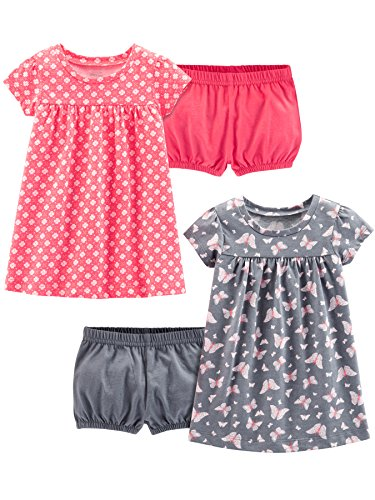 Simple Joys by Carter's Girls' 2-Pack Short-Sleeve and Sleeveless Dress Sets, Pink Print/Gray Butterfly, Newborn