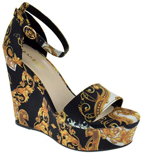 BAMBOO Choice 64 Womens Slingback Buckle Platform Wedge Dress Sandals Black Multi 10 ()