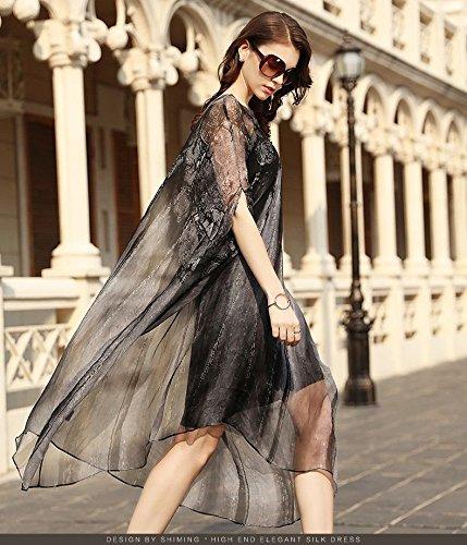 Sleeve Soie 2018 Jupe Lettre Soie MiGMV Longueur Robe de Bat Robes Nouveau Moyen lache Black XL Robe en xv0qnHHBwA