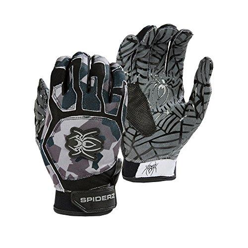 Adult Batting Gloves (Spiderz WEB Baseball Batting Glove with Silicone Spider Web Palm (Black Splinter Camo, Adult X-Large))