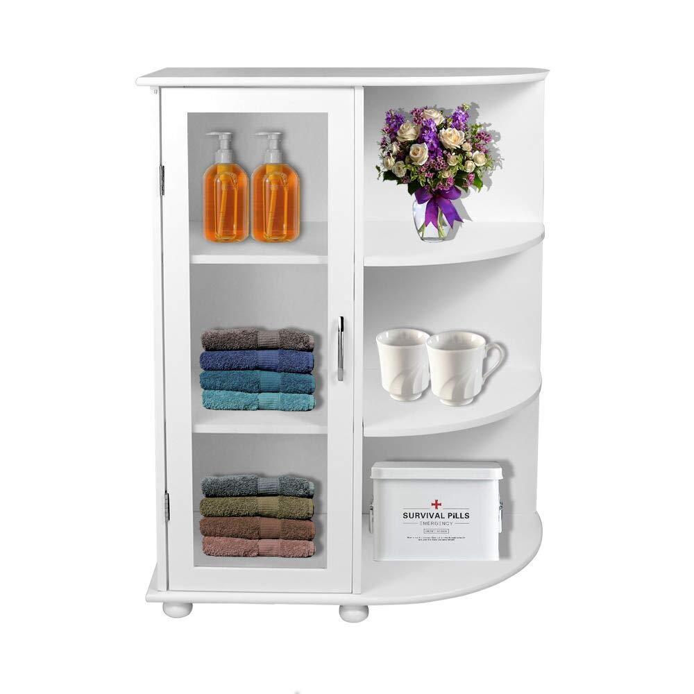 Bathroom Cabinet Organizer, Bathroom Storage Cabinet Medicine Cabinet with Shutter Door and Side Shelves, Standing Floor Wooden Cabinet, White