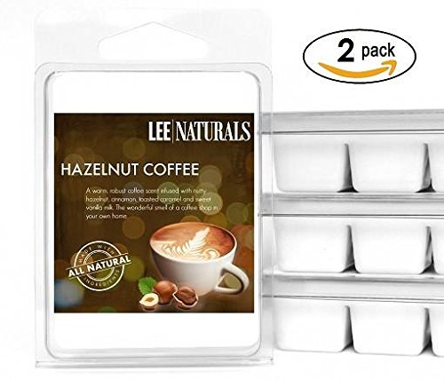 Lee Naturals Classics - (2 Pack) HAZELNUT COFFEE Premium All Natural 6-Piece Soy Wax Melts. Hand Poured Naturally Strong Scented Soy Wax (Hazelnut Tart)